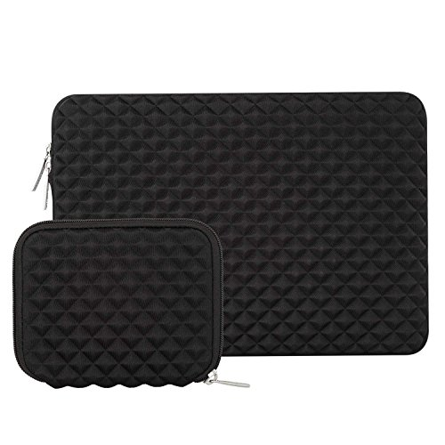 MOSISO Laptop Sleeve Compatible with MacBook Pro 16 inch A2141, Compatible with MacBook Pro Retina A1398 2012-2015, 15-15.6 inch Notebook, Diamond Foam Neoprene Bag with Small Case, Black