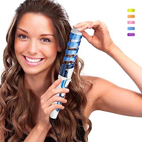 SexyBeauty Professional Portable Hair Salon Spiral Curl Ceramic Curling Iron Hair Curler Waver Maker Curling Wand (Blue)