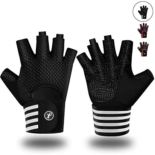 MOREOK Workout Gloves for Men Women, Weight Lifting Gloves Barehands Gloves Crossfit Gloves Ventilated Workout Gloves, Exercise Gloves with Wrist Wrap Support MK1001-Black-L