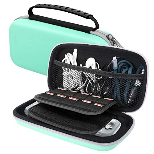 MoKo Carrying Case Compatible with Nintendo Switch Lite, Travel Case Hard Shell EVA Tough Storage Bag Holder Compatible with Nintendo Switch Lite Console, Accessories & Game Cards - Turquoise