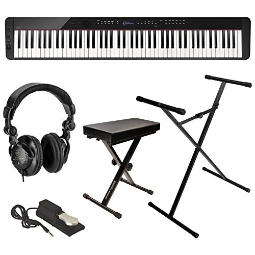 Casio Privia PX-S3000 88-Key Digital Piano (Black), Bundle with Bench, Stand, Sustain Pedal and H&A Studio Headphones