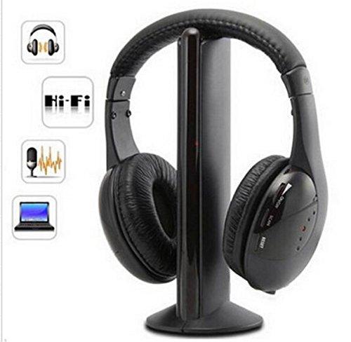 USA Premium Store 5 in 1 Headset Wireless Headphones Cordless RF Mic for PC TV DVD CD MP3 MP4