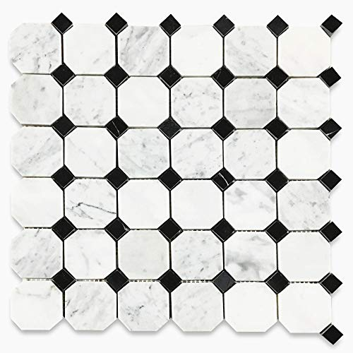 Stone Center Online Carrara White Italian Carrera Marble Octagon Mosaic Tile Black Dots 2 inch Polished Venato Bianco Kitchen Backsplash Bathroom Floor Tile