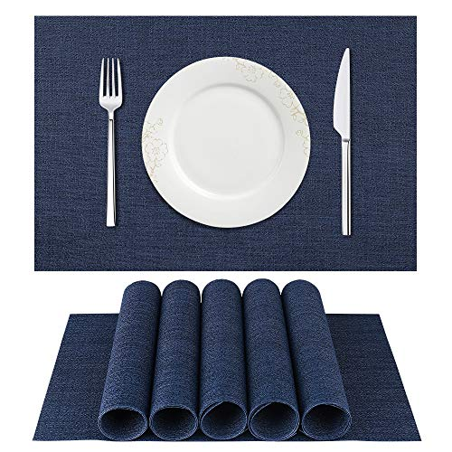 BETEAM Placemats, Heat-Resistant Placemats Stain Resistant Anti-Skid Washable PVC Table Mats Woven Vinyl Placemats, Set of 6(Dark Blue)