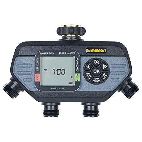 Melnor 73280 Digital Water Electronic Hose Timer, 4 Zone, Black/Gray