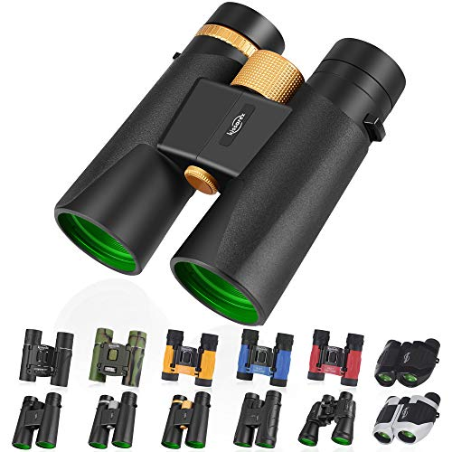 Kissarex Adults Compact Travel Binoculars: 10x42 Mini Small Size Lightweight Best Outdoor Theatre Tactical Hiking Kids Concert Sports Camping Low-Light Night Vision Waterproof