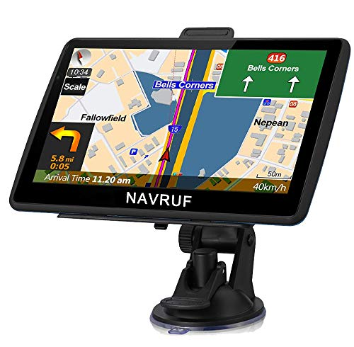 NAVRUF GPS Navigation for Cars 7 Inch with High Resolution Touch Screen Real Voice Direction Vehicle GPS Navigator Lifetime Map Updates