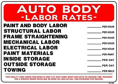AUTO BODY LABOR RATES 20x28 Heavy Duty Plastic Sign