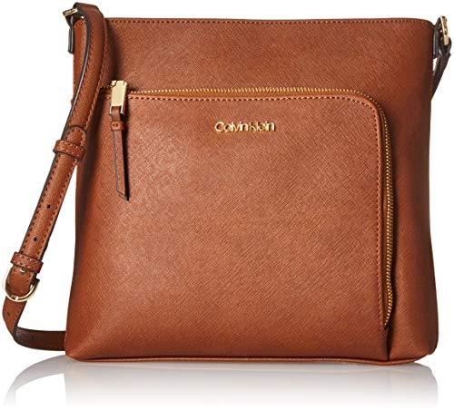Calvin Klein Hudson Saffiano Leather Top Zip North/South Crossbody,-luggage