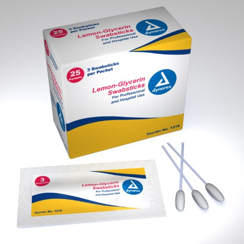 Dynarex Swabsticks, Lemon/Glycerin, 3's, 25 Count (Pack of 2)