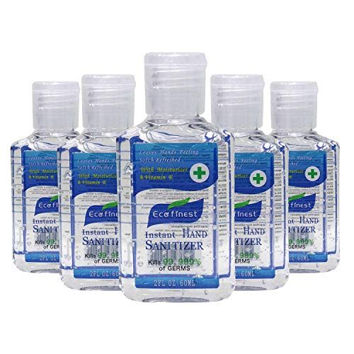 Eco Finest Hand Sanitizer Gel, 5-Pack 2 oz Travel Size, 75% Alcohol - No Rinse, Instant Clean with No Water Needed, 2 oz Individual Size