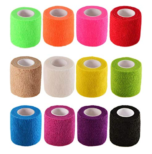 B&S FEEL Self-Adhesive Elastic Wrap Bandage Tape(2 Inches x 5 Yards, Pack of 12) (Assorted Color)