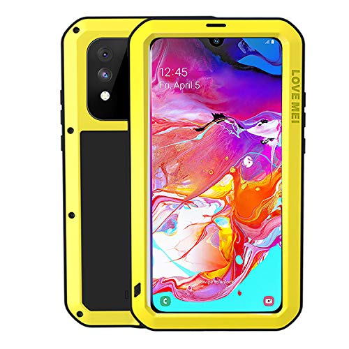 HATA Samsung A30 A20 Metal Rugged Hybrid Waterproof case Silicone Military Defense A30 Heavy Duty case with Gorilla Glass Tough Full-Body Cover for Samsung A30 A20 (Yellow, Samsung A30/A20)