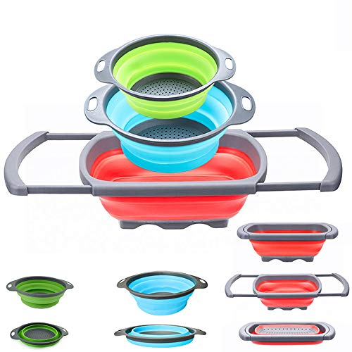Collapsible Colander - Over the kitchen sink strainer - Silicone Kitchen Strainer Set of 3-6 quart,3 Quart and 2 Quart for Draining Pasta, Vegetable and Fruit (Multi)