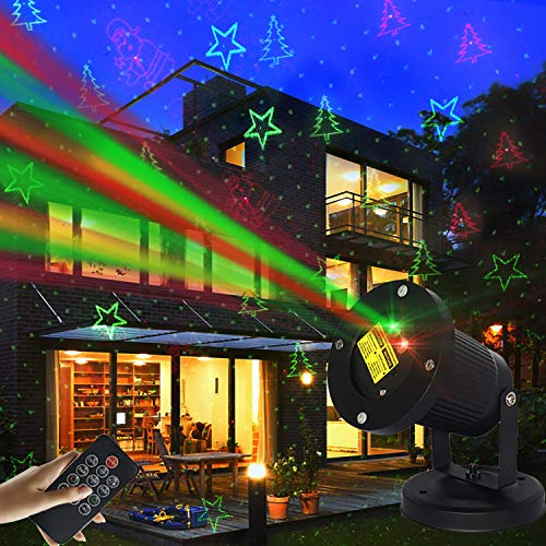 Outdoor Christmas Laser Projector Lights Waterproof, LED Garden Patio Xmas Party Holiday Stage Outside Motion Remote W/Timing Function