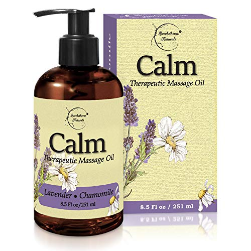 Calm Massage Oil with Lavender & Chamomile Essential Oils to Relax Sore Muscles - For Massage Therapy & Home use – with Coconut, Grapeseed & Jojoba Oils for Smooth Skin– Brookethorne Naturals - 8.5oz