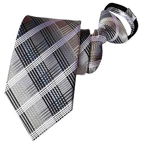 BESMODZ Men's Grey Striped Check Zipper Ties Pretied Adjustable Silk Zip Necktie