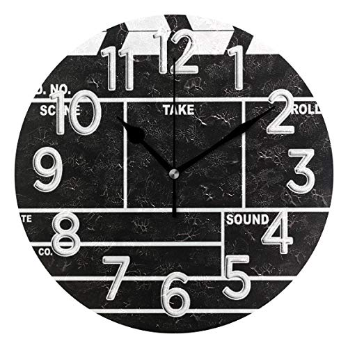 HousingMart Silent Round Wall Clock Clapperboard Design Clock Battery Operated Wall Clock 9.85 Inch Non Ticking for Home Office