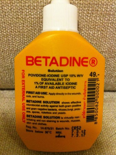 Betadine Povidone Iodine First Aid Solution Antiseptic for Cuts Wounds 15cc by Betadine
