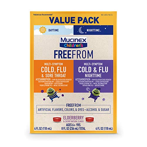 Mucinex Children's FreeFrom Multi-Symptom Cold, Flu and Sore Throat and Cold and Flu Nighttime, Bundle Value Pack, Elderberry and Cherry Natural Flavor, 2 x 4 FL OZ