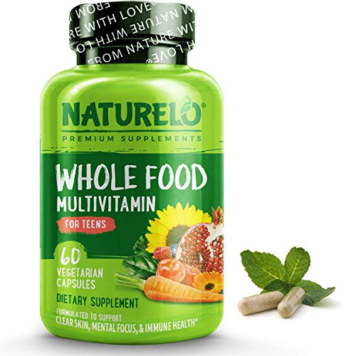 NATURELO Whole Food Multivitamin for Teens - Vitamins and Minerals for Teenage Boys and Girls - Supplement for Active Kids - with Organic Whole Foods - Non-GMO - Vegan & Vegetarian - 60 Capsules