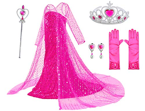 Luxury Princess Dress Costumes with Shining Long Cap Girls Birthday Party 9-10 Years