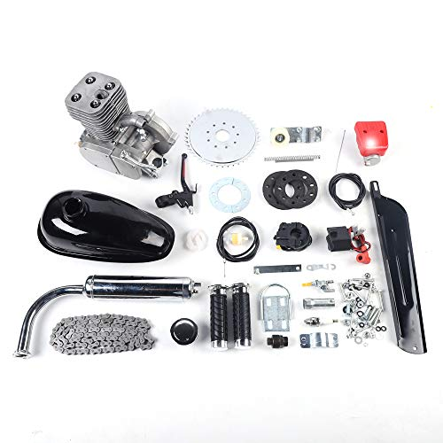 LOYALHEARTDY 100CC Bicycle Engine Kit, 2-Stroke Gas Motorized Bike Motor Kit, Full Set Petrol Gas Motor Engine Kit, Super Fuel-efficient Bicycle Engine Complete Kit for Most 26' /28' Bikes