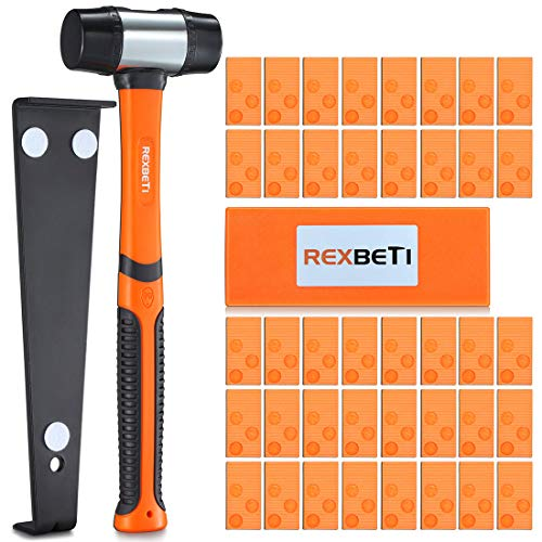REXBETI Laminate Wood Flooring Installation Kit with Solid Tapping Block, Long and Wider Pull Bar, Reinforced Double-Faced Mallet and 40 Spacers