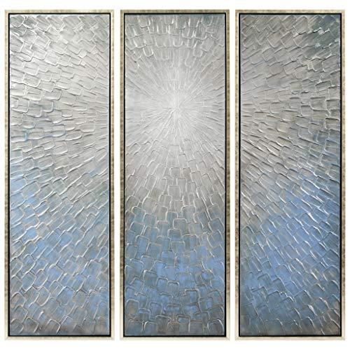 Empire Art Direct Empire Art Silver Ice Hand Painted, Heavily Textured Bold Neutrals by Martin Edwards Wall Décor, 60in.x20in.x1.5in.ea, Metallic, Sliver, Blue