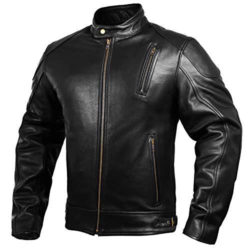 Mens Leather Motorcycle Jackets Black Moto Riding Motorbike Racing Cafe Racer Biker Jacket CE Armored (3XL)