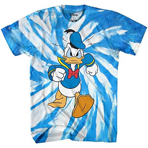 Disney Donald Duck Wash Tie Dye World Disneyland Funny Mens Adult Graphic Costume Humor Apparel Tee T-Shirt (Blue White Tie Dye, Medium)
