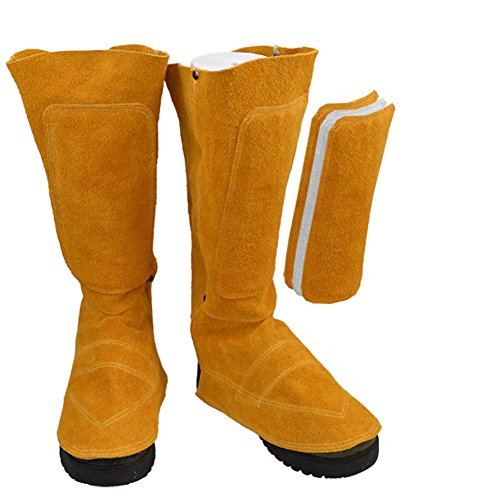 11' Long Cowhide Leather Shoe Protector, Heat and Abrasion Resistant Welding Spats Shoes Cover, Welder Working Tool Thick Three-Layer Protection Feet Cover for Human Calf DHXT01 Yellow