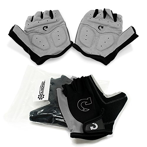 GEARONIC Cycling Shockproof Foam Padded Outdoor Sports Half Finger Short Gloves-Gray M