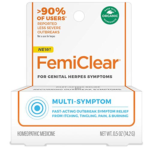 FemiClear for Genital Herpes Symptoms - Multi-Symptom Relief, 0.5 oz Ointment | Fast-Acting | All-Natural & Organic Ingredients