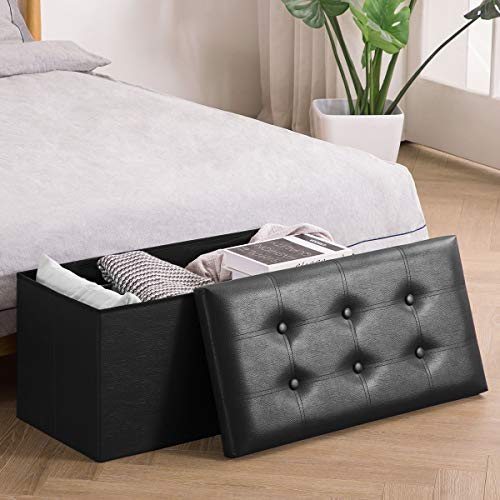 YOUDESURE Folding Storage Ottoman Bench, Faux Leather Footrest for Living Room, End of Bed Bench with Padded Seat, Holds up to 350lbs, Black