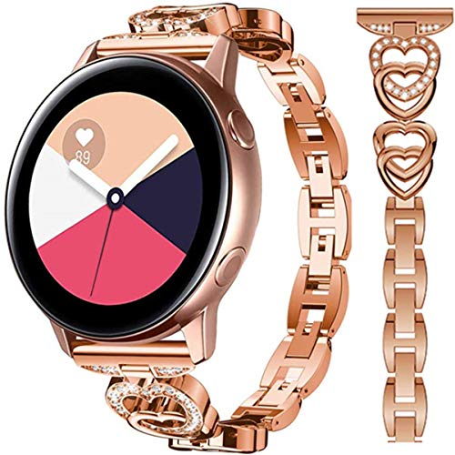 HATALKIN Bands for Samsung Galaxy Watch Active 2 Band 40mm 44mm for Women Compatible Galaxy Watch 3 41mm / 42mm / 40mm Active Bands 20mm Bracelet Bling Alloy Crystal Rhinestone Diamond (Rose Gold)