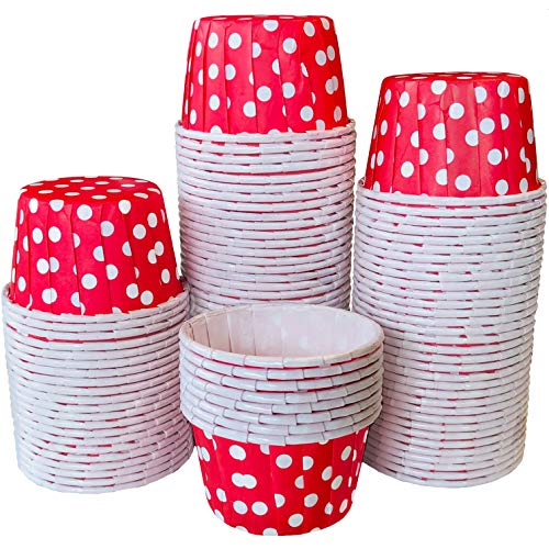 Red Bulk MINI Candy Nut Paper Cups- 4th of July Party Supply - Mini Baking Liners - Red Polka Dot - 100 Pack