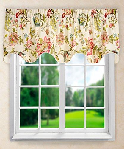 Ellis Curtain Brissac Lined Scallop Valance, 70 x 17, Red