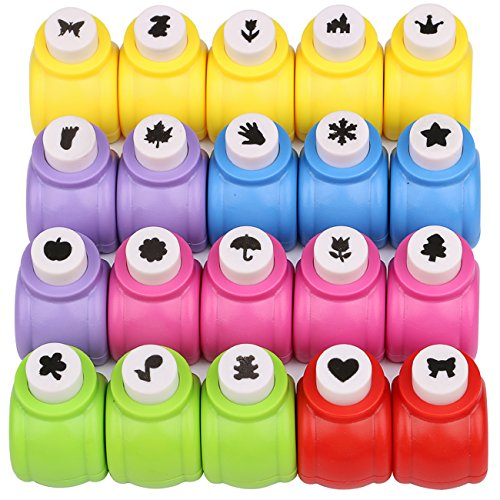Katfort Paper Punch Shapes 20 Pack, Mini Hole Punch Shapes 20 Patterns Paper Hole Puncher Set for Scrapbooking DIY Crafting