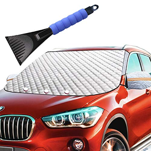 Car Windshield Snow Ice Winter Cover 62X49 Extra Large with 4 Layers Full Wiper Protector Magnetic Windshield Covers for Most Car SUV Truck Van Snow Ice Sun Frost Defense Side Mirror Covers