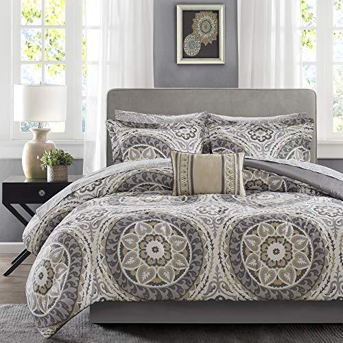 Madison Park Essentials Cozy Bag Comforter, Medallion Damask Design All Season Down Alternative Complete Sheet Set, Bed Skirt, Queen(90'x90'), Serenity Taupe, 9 Piece