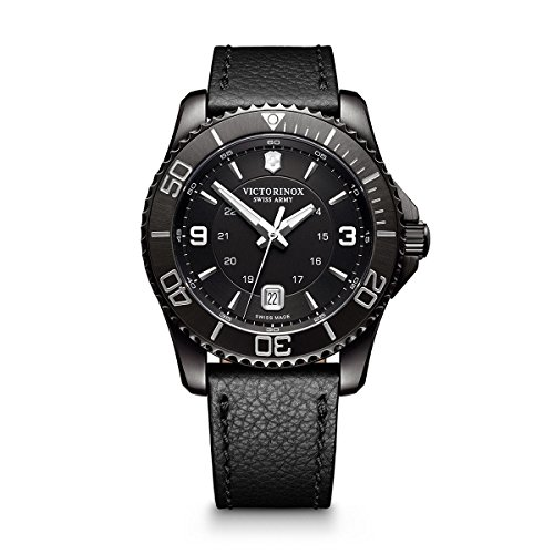 Victorinox Men's Maverick Stainless Steel Swiss-Quartz Watch with Leather Strap, Black, 22 (Model: 241787)