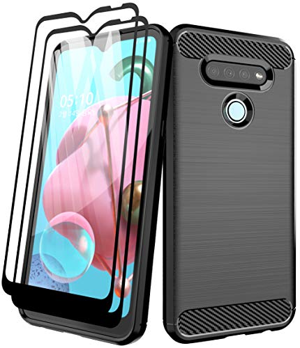 Aliruke Case for LG K51 Case with Tempered Glass Screen Protector[2 Pack], Slim Shockproof TPU Bumper Cover Flexible Lightweight Protective Phone Case for LG K51/LG Reflect/LG Q51, Black
