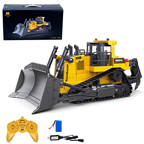 HMANE 1/16 9CH 2.4G Remote Control Loader Tractor RC Bulldozer, Two-Way Heavy-Duty Engineering Vehicle Model RC Forklift Crawler Front Loader Construction Toy with Light and Sounds