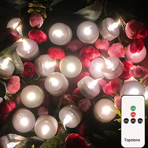Topstone LED Tea Light,Flameless Flickering Tealight with Remote Control,Long Lasting Battery Operated LED Tealights Candle with Timer,for Seasonal &Festival Celebration,Pack of 12(White)