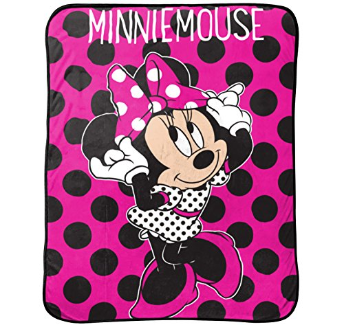 Jay Franco Dots are The New Black Plush Throw, Minnie Pink