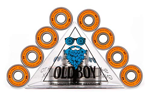 Oldboy Chrome Skateboard Bearings for Skateboards, Longboards, Quad Skates, Rollerblades or Scooters