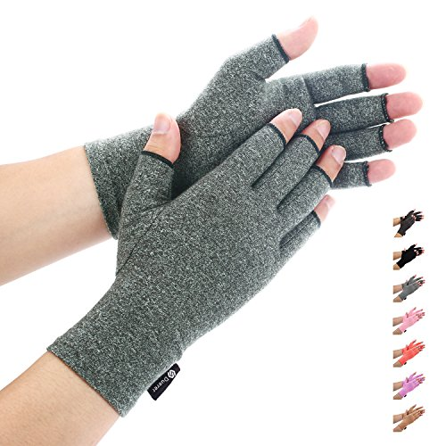 Duerer Arthritis Gloves Women Men for RSI, Carpal Tunnel, Rheumatiod, Tendonitis, Fingerless Hand Thumb Compression Gloves Small Medium Large XL for Pain Relief (Large, Gray)