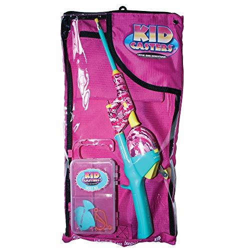 Pink Camo Kids Fishing Tackle Bag Kit, Telescopic No Tangle Fishing Rod/Reel Combo, Tackle Box, Casting Plug