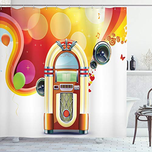Ambesonne 1950s Shower Curtain, Party Abstract with Detailed Classic Juke Box Celebration Colored Cheerful Fun Event, Cloth Fabric Bathroom Decor Set with Hooks, 70' Long, Red Yellow